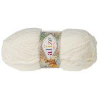 Alize Softy Plus 62 wanilia mięciutka włochata włóczka idealna na maskotki, szale, poduchy i koce. Struktura trawki daje piękny fantazyjny efekt.