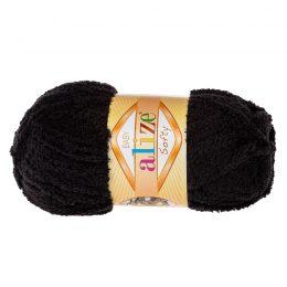 Alize Softy 60 czarny mięciutka włochata włóczka idealna na maskotki, szale, poduchy i koce. Struktura trawki daje piękny fantazyjny efekt.