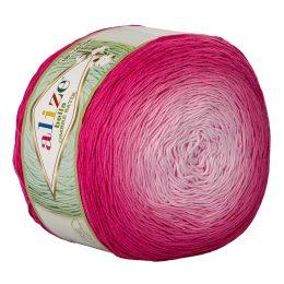 Alize Bella Ombre Batik 7405 to przepiękna cukierkowa bawełna ombre w odcieniach różu.Motki o wadze 250g mają aż 900 metrów!
