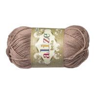 Włóczka Alize Bella 629 w kolorze kawy z mlekiem. 100% bawełny. Naturalna propozycja do amigurumi. Długość metrów w motku to aż 180!:)