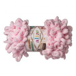 Alize Puffy 31 pluszowa fantazyjna włóczka w kolorze różowym. Do tworzenia nie potrzeba drutów ani szydełka!