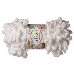 Alize Puffy 55pluszowa fantazyjna włóczka w kolorze białym. Do tworzenia nie potrzeba drutów ani szydełka!