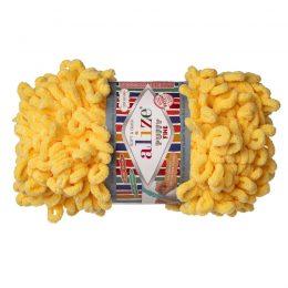 Alize Puffy Fine 113 pluszowa fantazyjna włóczka w kolorze żółtym. Do tworzenia nie potrzeba drutów ani szydełka!