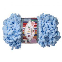 Alize Puffy Fine 218 pluszowa fantazyjna włóczka w kolorze błękitu. Do tworzenia nie potrzeba drutów ani szydełka!