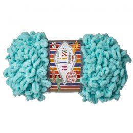 Alize Puffy Fine 263 pluszowa fantazyjna włóczka w kolorze turkusowym. Do tworzenia nie potrzeba drutów ani szydełka!