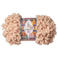 Alize Puffy Fine 310 pluszowa fantazyjna włóczka w kolorze beżowym. Do tworzenia nie potrzeba drutów ani szydełka!