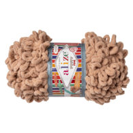 Alize Puffy Fine 415 pluszowa fantazyjna włóczka w kolorze karmelu. Do tworzenia nie potrzeba drutów ani szydełka!
