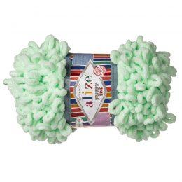 Alize Puffy Fine 464 pluszowa fantazyjna włóczka w kolorze mięty. Do tworzenia nie potrzeba drutów ani szydełka!