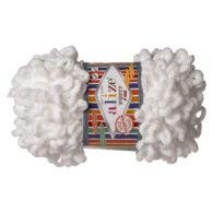 Alize Puffy Fine 55 Pluszowa fantazyjna włóczka w kolorze białym. Do tworzenia nie potrzeba drutów ani szydełka!