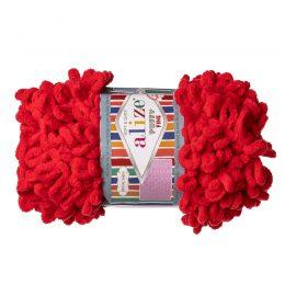 Alize Puffy Fine 56pluszowa fantazyjna włóczka w kolorze czerwonym. Do tworzenia nie potrzeba drutów ani szydełka!