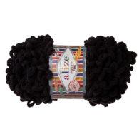 Alize Puffy Fine 60 pluszowa fantazyjna włóczka w kolorze czarnym. Do tworzenia nie potrzeba drutów ani szydełka!