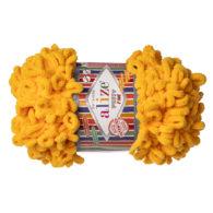 Alize Puffy Fine 82 pluszowa fantazyjna włóczka w kolorze słonecznym. Do tworzenia nie potrzeba drutów ani szydełka!