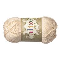 Włóczka Alize Bella 01 w kolorze wanilii. 100% bawełny. Naturalna propozycja do amigurumi. Długość metrów w motku to aż 180!:)
