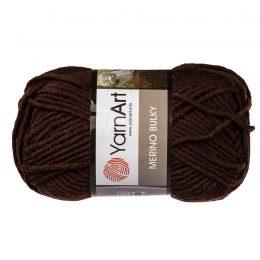 Yarn Art Merino Bulky 116 to super ciepła włóczka w kolorze brązowym idealna na szaliki, czapki, czy ciepłe kapcie. Akryl z wełną, 100g/100m