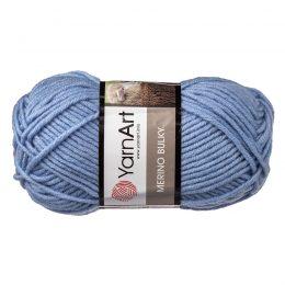 Yarn Art Merino Bulky 3042 to super ciepła niebieska włóczka idealna na szaliki, czapki, czy ciepłe kapcie. Akryl z wełną, 100g/100m