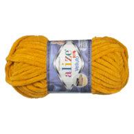 WłóczkaAlize Velluto 02 to pluszowa, miękka włóczka w kolorze szafranu. Alternatywa dla Dolphin Baby. 100g/68m