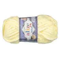 WłóczkaAlize Velluto 13 to pluszowa, miękka włóczka w kolorze żółtym. Alternatywa dla Dolphin Baby. 100g/68m