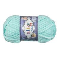 WłóczkaAlize Velluto 19 to pluszowa, miękka włóczka w kolorze turkusu. Alternatywa dla Dolphin Baby. 100g/68m