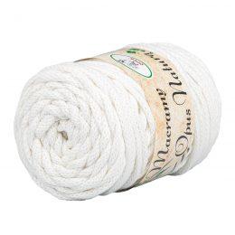 Opus Natura Macrama 5mm 102 to wyjątkowo miękki sznurek bawełniany zwinięty w walcowate motki po 250g i 60m. 80% bawełny i 20% poliestru.