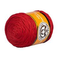 MTP Poly Macrame M118 to przędzony poliestrowy sznurek w kolorze czerwonym, 100% poliestru, 250g/150m. Idealny na torebki i makramy.