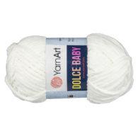 Yarn Art Dolce Baby 745 topluszowa, miękka włóczka w kolorze kremowym. Prawie połowa grubości Dolphin Baby i 85m w 50g motku!