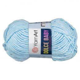 Yarn Art Dolce Baby 749 topluszowa, miękka włóczka w kolorze błękitnym. Prawie połowa grubości Dolphin Baby i 85m w 50g motku!