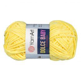Yarn Art Dolce Baby 761 topluszowa, miękka włóczka w kolorze żółtym. Prawie połowa grubości Dolphin Baby i 85m w 50g motku!