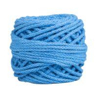 Sznurek bawełnianyBawełenka niebieska 480 to 100% bawełny w postaci przędzonego sznura o średnicy 5mm. W zwiniętym w kulkę motku jest 50 m.