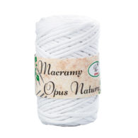 Sznurek Opus Natura Macrama Twisted 4mm 101 biały to 80% bawełny i 20% poliestru. Idealny do makramowych robótek. 250g/70m