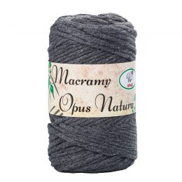 Sznurek Opus Natura Macrama Twisted 4mm 106 grafit to 80% bawełny i 20% poliestru. Idealny do makramowych robótek. 250g/70m