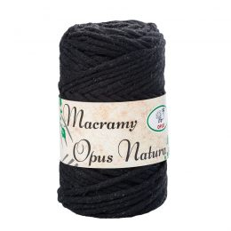 Sznurek Opus Natura Macrama Twisted 4mm 115 czarny to 80% bawełny i 20% poliestru. Idealny do makramowych robótek. 250g/70m