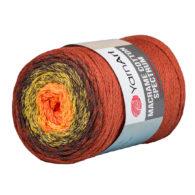 Yarn Art Macrame Cotton Spectrum 1303Wielokolorowy przędzony sznurek. W 250g znajdziemy aż 225 metrów sznurka.
