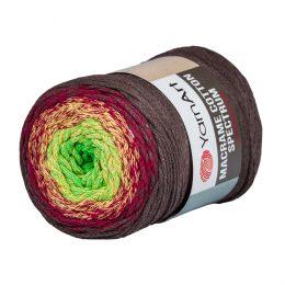 Yarn Art Macrame Cotton Spectrum 1305 Wielokolorowy przędzony sznurek. W 250g znajdziemy aż 225 metrów sznurka.