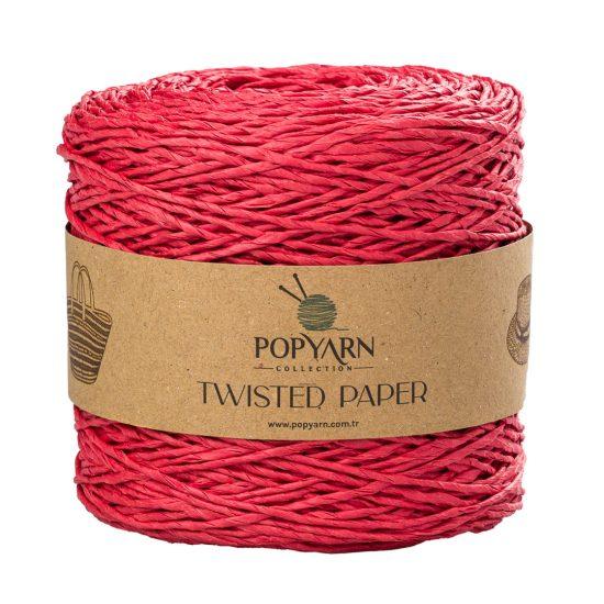 Sznurek Popyarn Twisted Paper B507 czerwony to 100% makulaturowy papier. Świetnie nadaje się na kapelusze, torebki czy koszyki:) 250g/255m