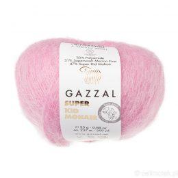 Gazzal Super Kid Mohair 64412 to super mięciutka moherowa włóczka w kolorze bubble gum. 25g/237m. Idealna na jesienno-zimowe udziergi.