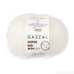 Gazzal Super Kid Mohair 64414 to super mięciutka moherowa włóczka w kolorze białym. 25g/237m. Idealna na jesienno-zimowe udziergi.