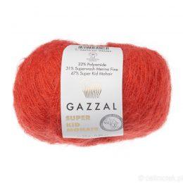 Gazzal Super Kid Mohair 64416 to super mięciutka moherowa włóczka w kolorze czerwonym. 25g/237m. Idealna na jesienno-zimowe udziergi.
