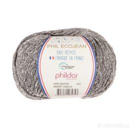 Phildar Phil Ecojean 1004 średni szary to 100% recyklingowana bawełniano-akrylowa włóczka. Ekologiczny wybór! 50g/100m