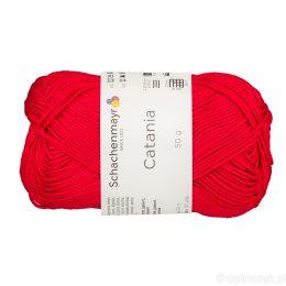 Schachenmayr Catania 00115 to bawełniana włóczka w kolorze czerwonym. Pięknie skręcona, z połyskiem. 50g/125m.