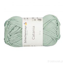 Schachenmayr Catania 00402 to bawełniana włóczka w kolorze miętowym. Pięknie skręcona, z połyskiem. 50g/125m.