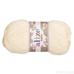 Alize Bella 01 to bawełniana włóczka w kolorze waniliowym. Naturalna propozycja do amigurumi. Wersja 100g/360m