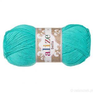 Alize Bella 477 to bawełniana włóczka w kolorze turkusowym. Naturalna propozycja do amigurumi. Wersja 100g/360m