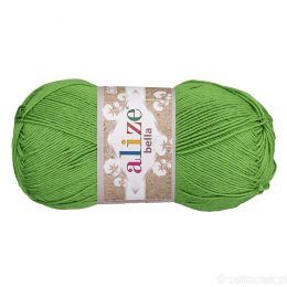 Alize Bella 492 to bawełniana włóczka w kolorze trawiastym. Naturalna propozycja do amigurumi. Wersja 100g/360m