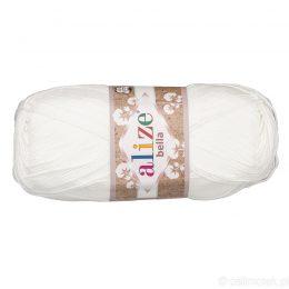 Alize Bella 55 to bawełniana włóczka w kolorze białym. Naturalna propozycja do amigurumi. Wersja 100g/360m