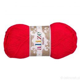 Alize Bella 56 to bawełniana włóczka w kolorze czerwonym. Naturalna propozycja do amigurumi. Wersja 100g/360m