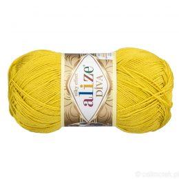 Alize Diva 109 to piękna turecka włóczka z jedwabnym połyskiem w kolorze limonkowym.100g/350m. 100% mikrofibry.
