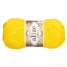 Alize Diva 110 to piękna turecka włóczka z jedwabnym połyskiem w kolorze cytrynowym.100g/350m. 100% mikrofibry.
