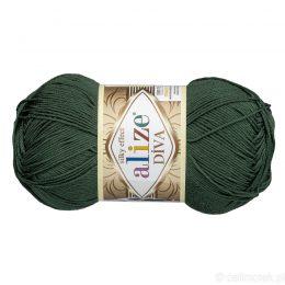 Alize Diva 131 to piękna turecka włóczka z jedwabnym połyskiem w kolorze butelkowej zieleni.100g/350m. 100% mikrofibry.