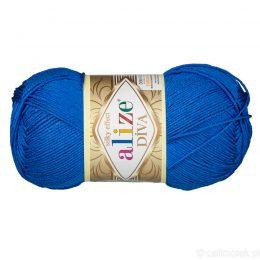 Alize Diva 132 to piękna turecka włóczka z jedwabnym połyskiem w kolorze kobaltowym.100g/350m. 100% mikrofibry.