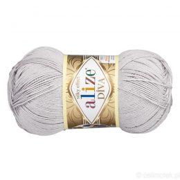 Alize Diva 168 to piękna turecka włóczka z jedwabnym połyskiem w kolorze stalowym.100g/350m. 100% mikrofibry.